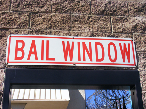 Bail Window Sign at the City of Las Vegas Detention Center - Inmate Lookup Las Vegas